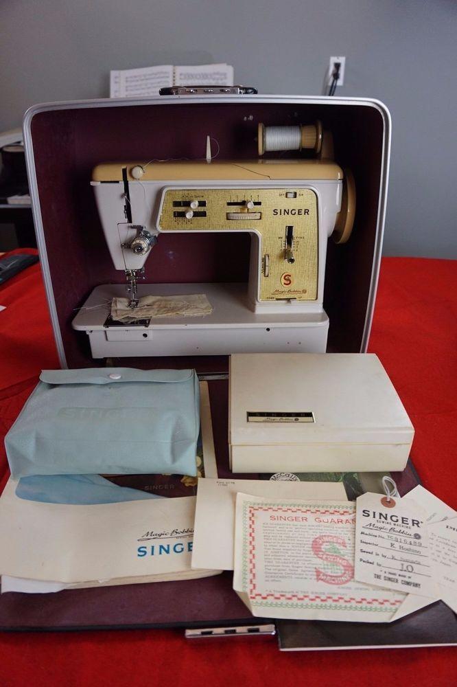 Vintage Singer Magic Bobbin Sewing Machine With Case Manuals Fascinating Miracle Sewing Machine