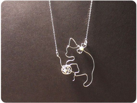 3D Sterling Silver Cat Playing with Ball Pendant