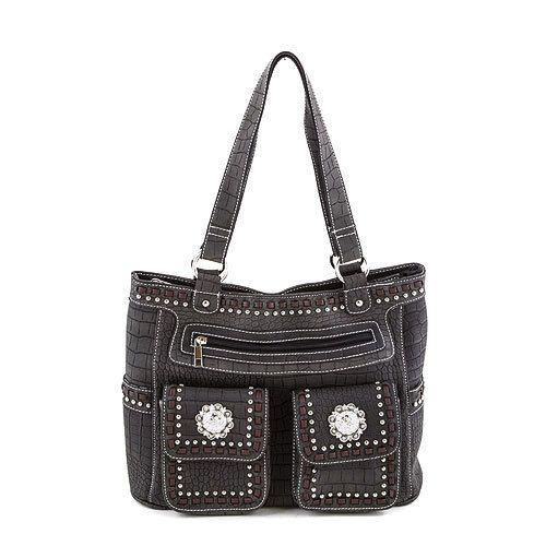 Black Double Pocket And Rhinestone Concho Faux Croc Western Purse Handbag The Rustic