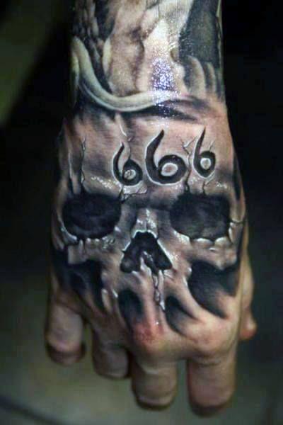 80 Skull Hand Tattoo Designs For Men Manly Ink Ideas In 2020 Skull Hand Tattoo Evil Tattoos Hand Tattoos For Guys