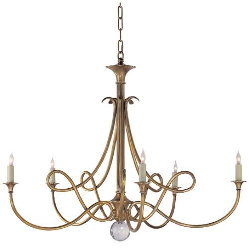 Antique Brass Double Twist Five Light Chandelier Visual Comfort And Company  Candles Withou - Antique Brass Double Twist Five Light Chandelier Visual Comfort And