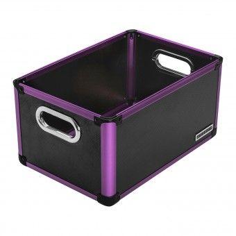 anndora Office Box Aufbewahrungsbox Schwarz Lila Regalbox - Kunststoff Aluminium  | Schwarz - Lila