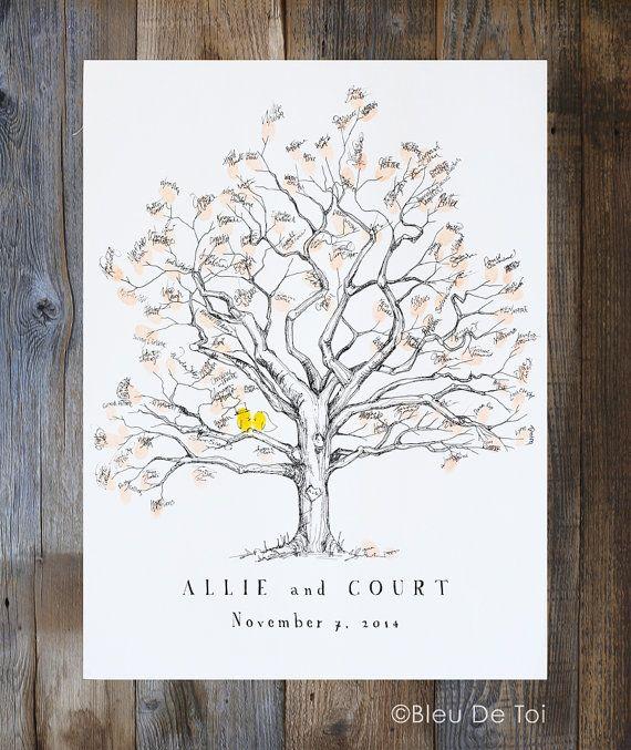 Personalized Fingerprint  Thumbprint Tree Guestbook Alternative SMALL Wedding
