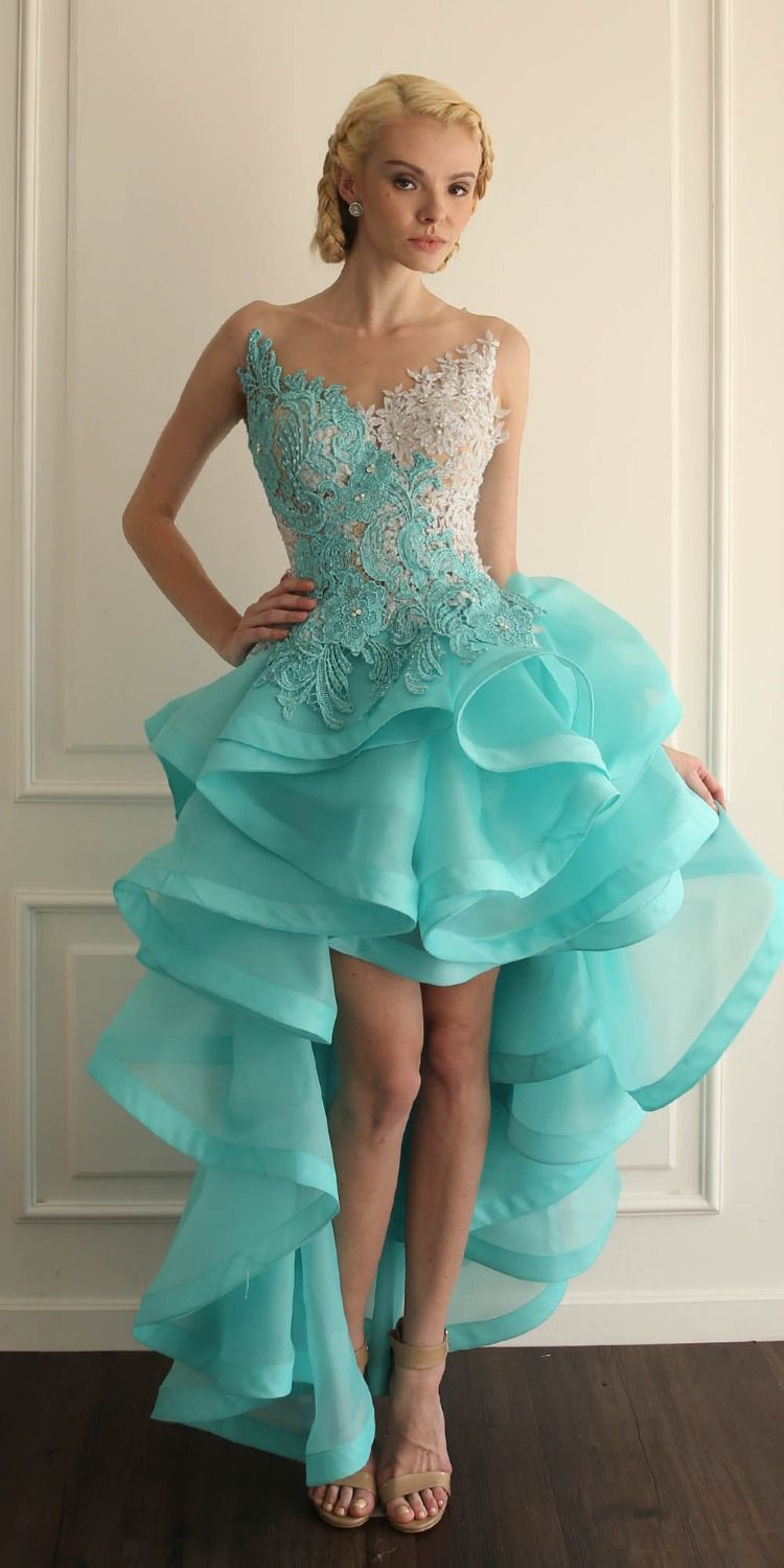 gorgeous ivory blue beaded lace high low prom dresses sheer