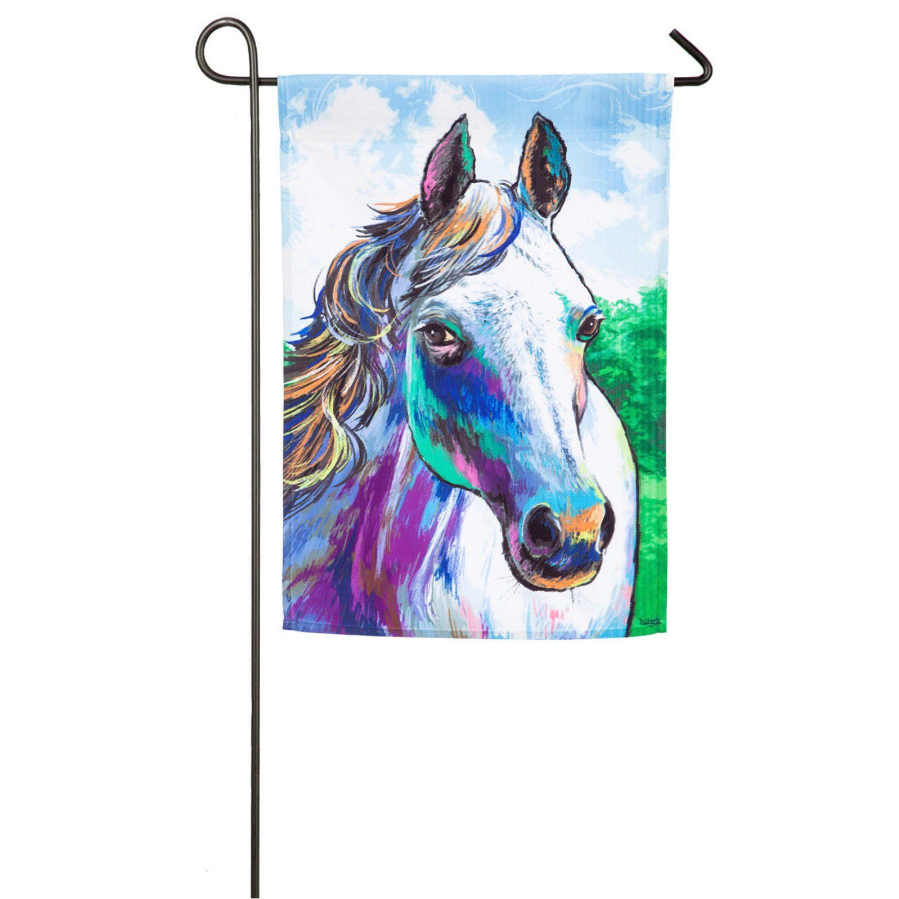 Evergreen Flag Colorful Horse Garden Flag   14A4485