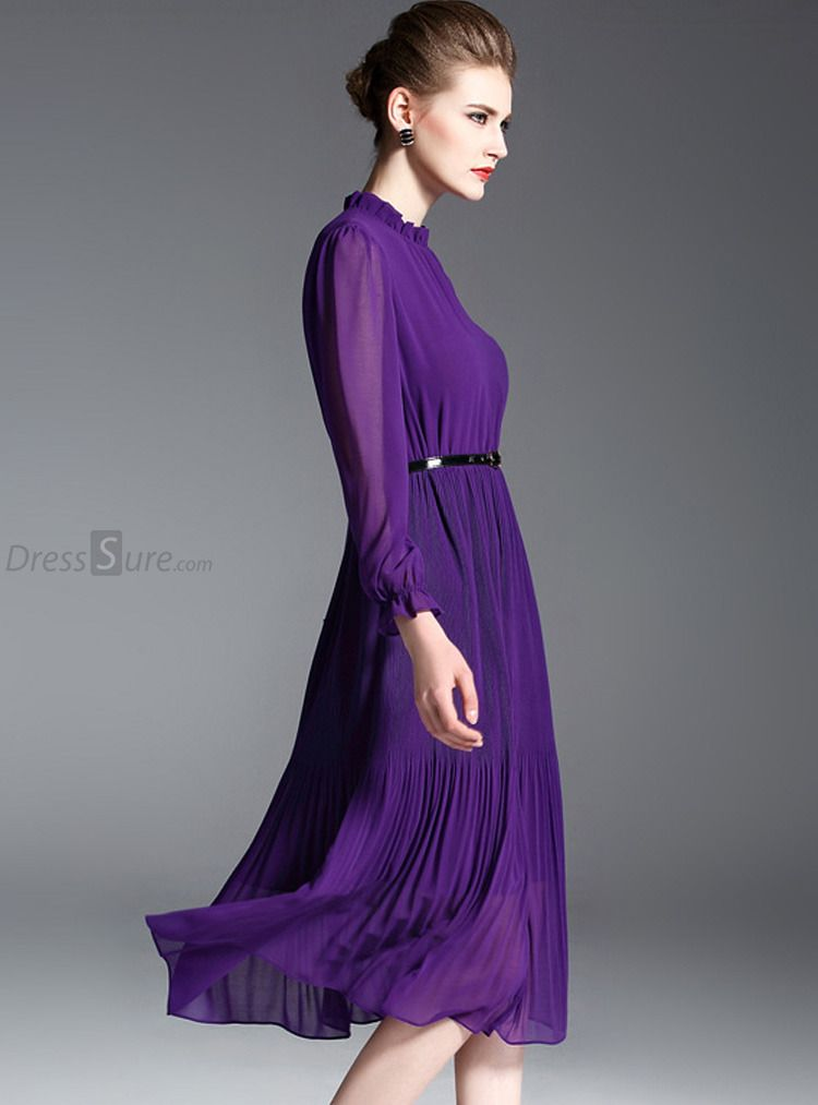 df1d613b59 Elegant Chiffon Stand Collar Long Sleeve Purple Pleated Skater Dress  Without Belt - DressSure.com