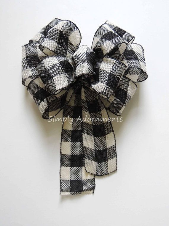 Black White Buffalo Check Wreath Bow Rustic By Simplyadornmentsss Ribbon Flowers Black And White Ribbon Wreath Bow