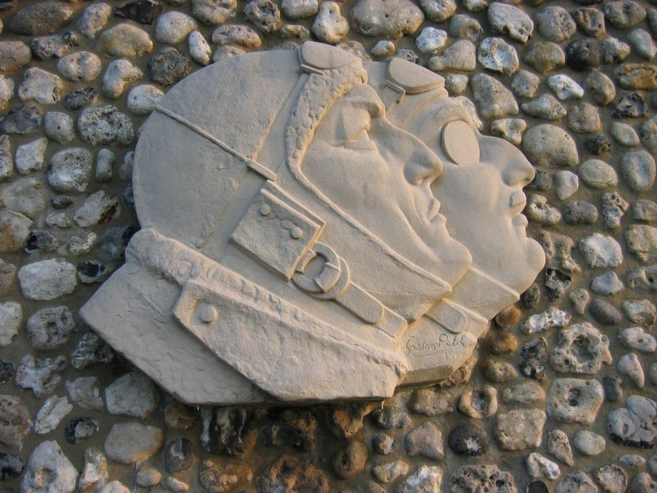 Monument Nungesser et Coli - L'Oiseau Blanc. The White Bird. Detail from the museum wall, near Etretat, Normandy.