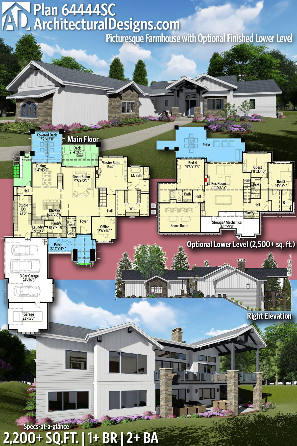 Architectural Designs Farmhouse House Plan 64444SC gives