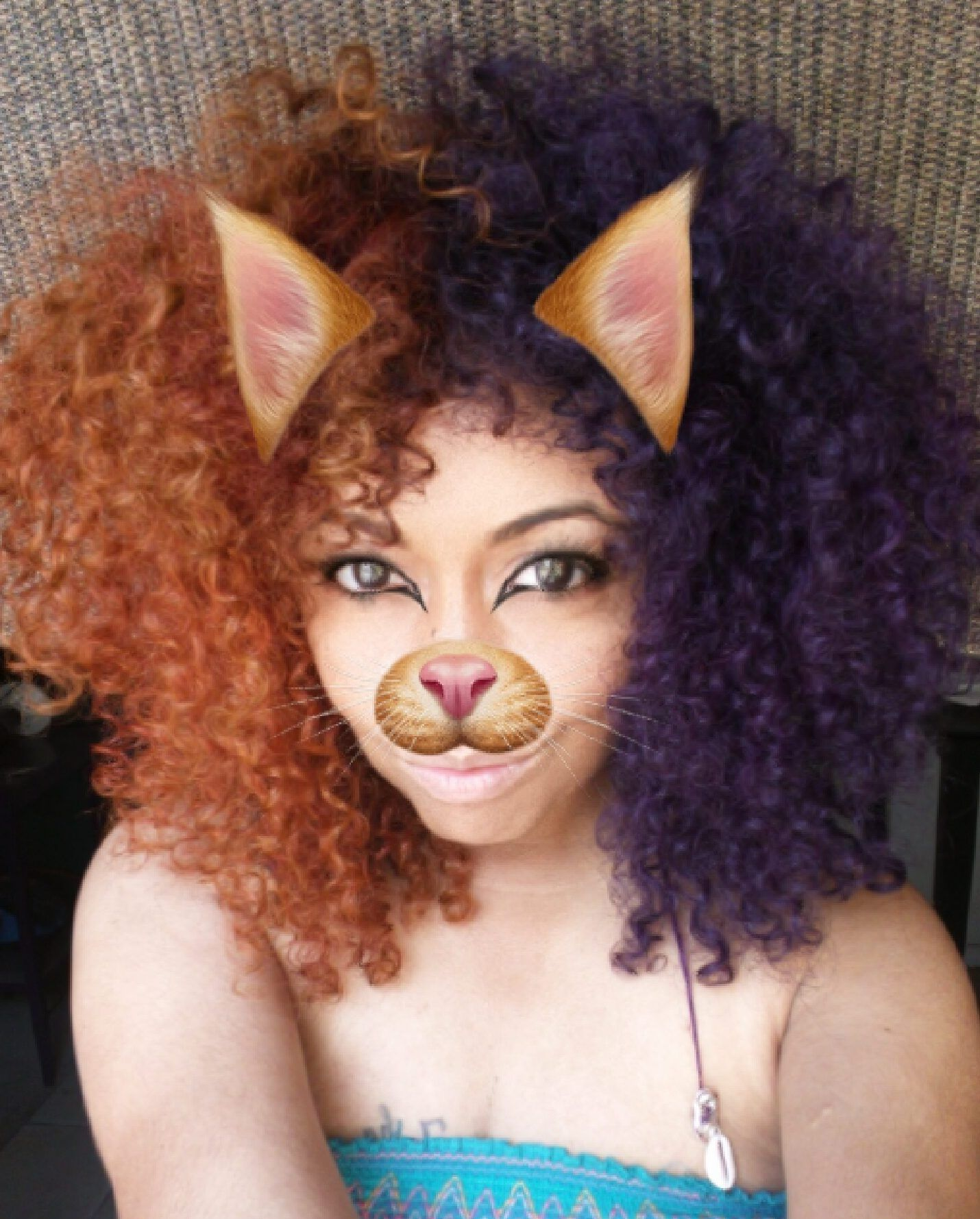 Split Hair Color W Adore Orange Blaze And Rich Eggplant I Rock My Natural Split Hair Adore Hair Dye Dyed Natural Hair