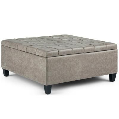 Simpli Home Harrison 36 In Traditional Square Storage Ottoman In