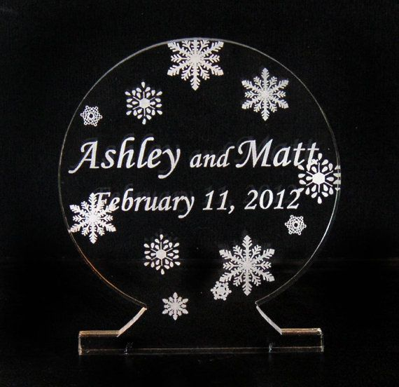 Snow Globe Wedding Cake Topper - Engraved & Personalized | Wedding ...