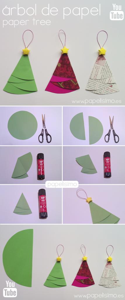 Adorna tu rbol de navidad con arbolitos de papel manualidades faciles ni os como hacer adorno - Manualidades de navidad con papel ...