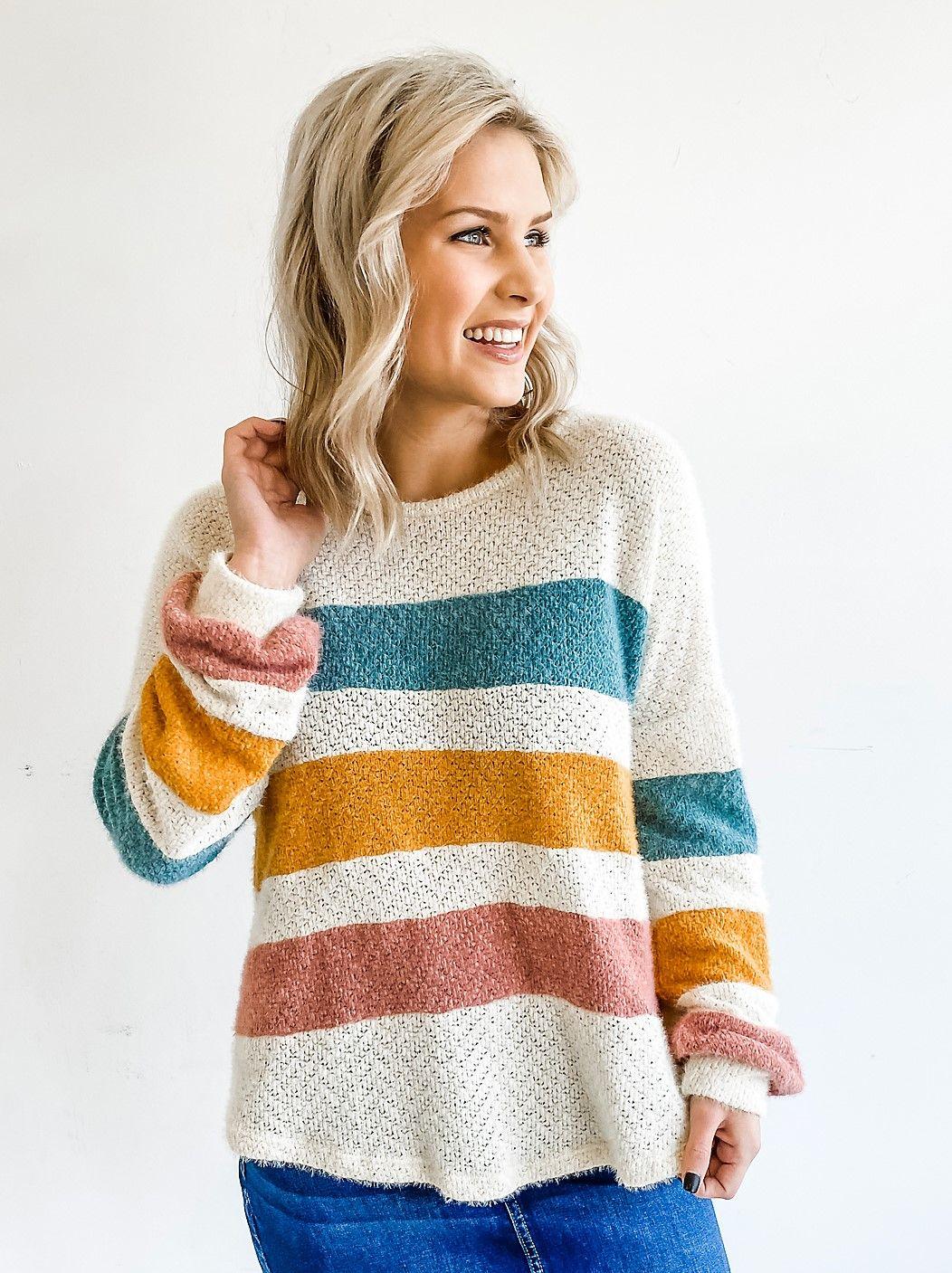 3999 the bella color stripe sweater https
