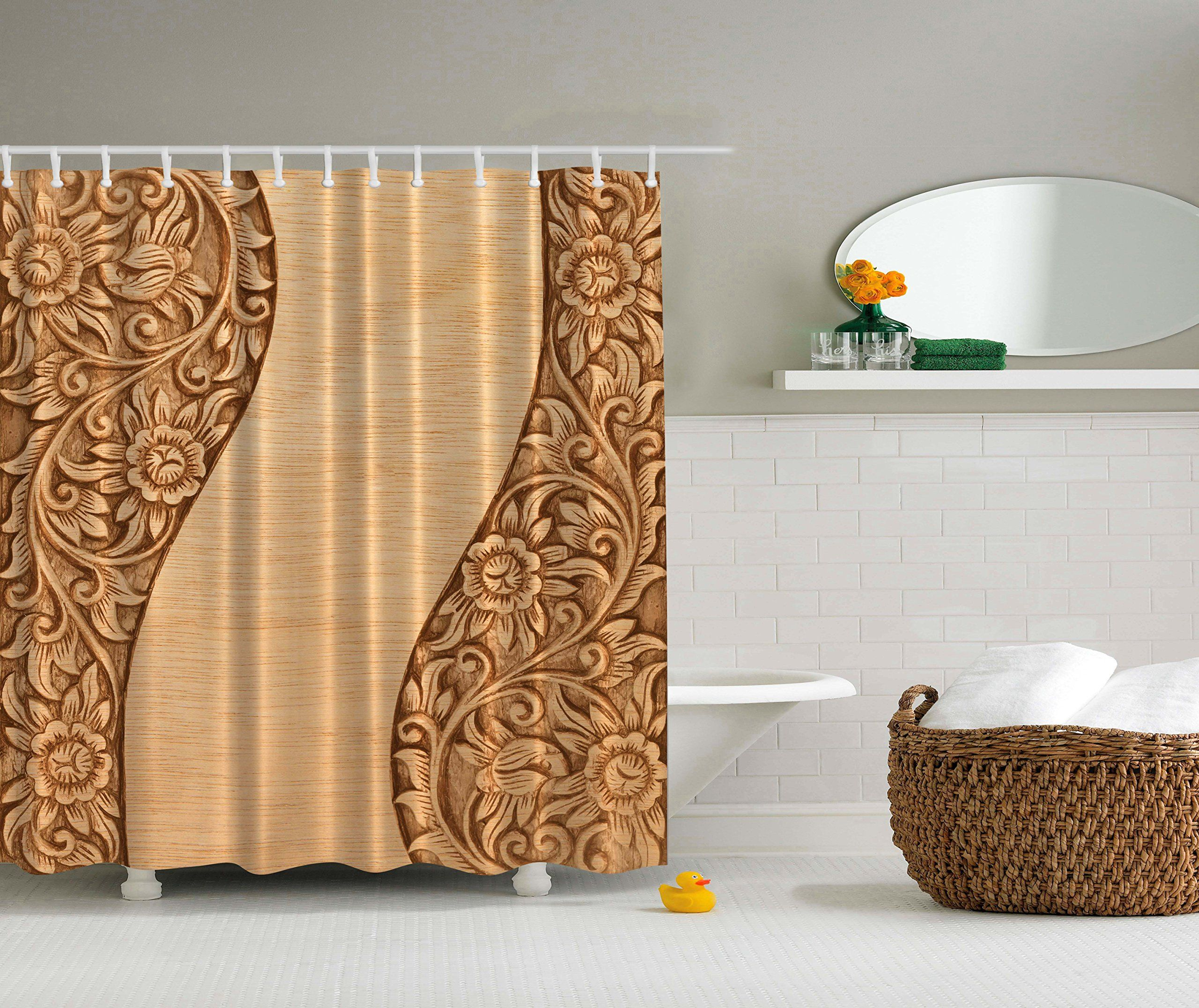 Country Decor Carved Wood Ornamental Flowers Shower Curtain Modern