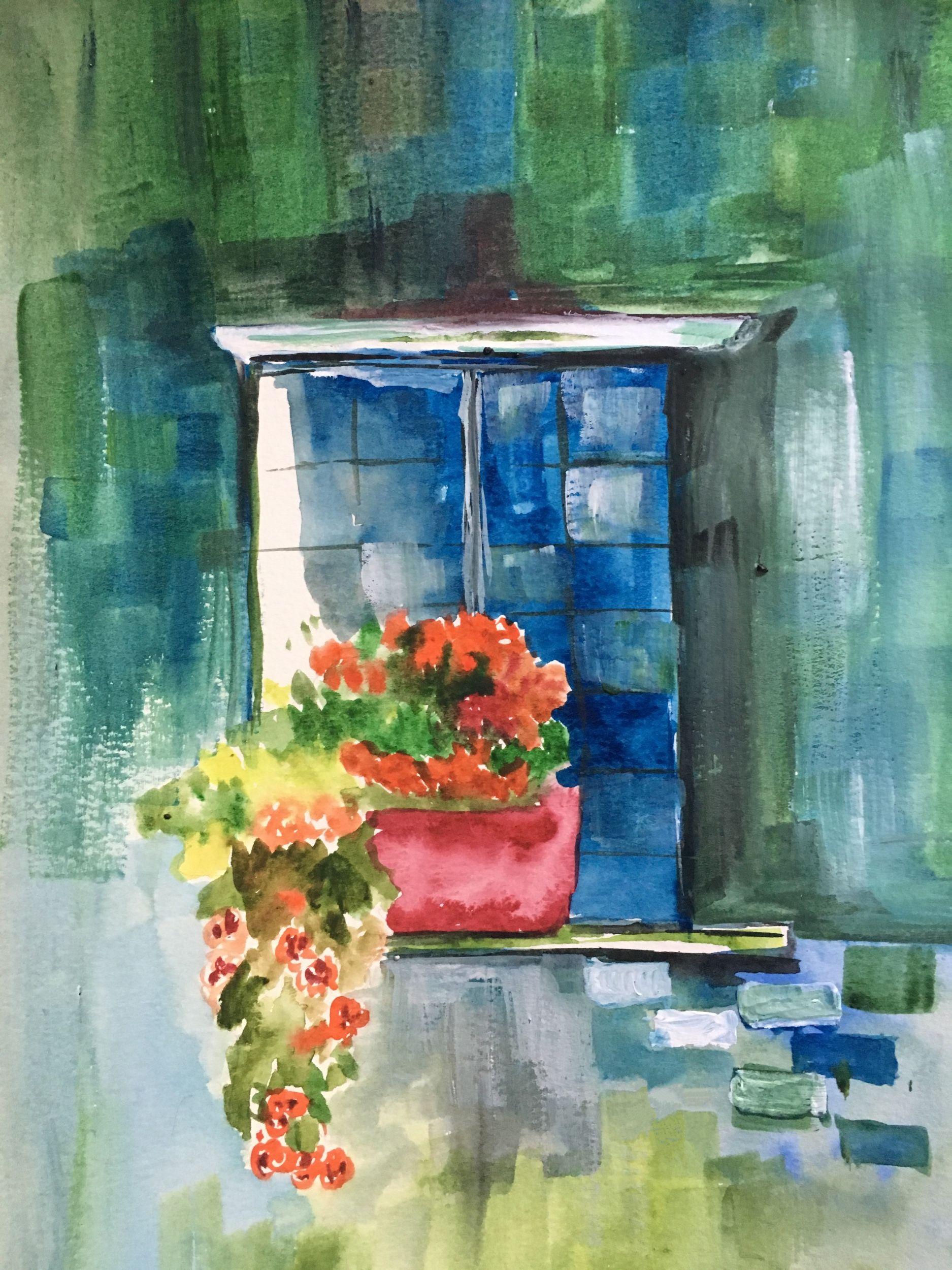 Watercolor Window Flower Pot Flowers Painting Window In