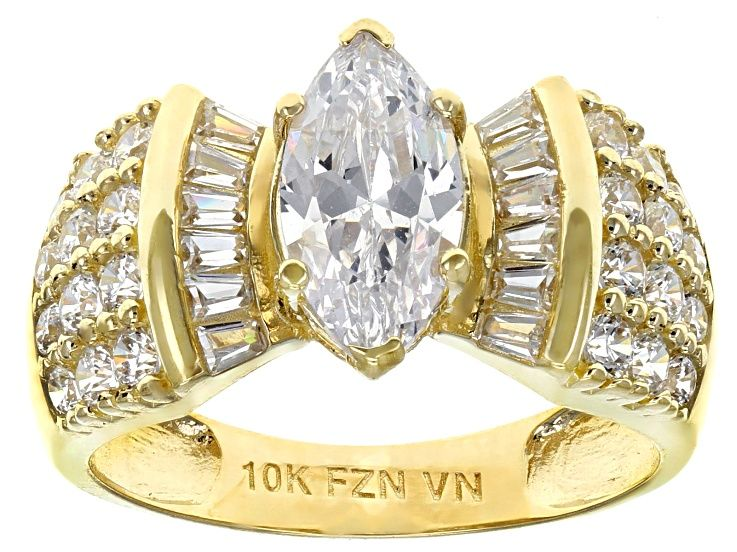 White Cubic Zirconia 10k Yellow Gold Center Design Ring 3 69ctw Blg409 Ring Designs Rings Diamond Simulant
