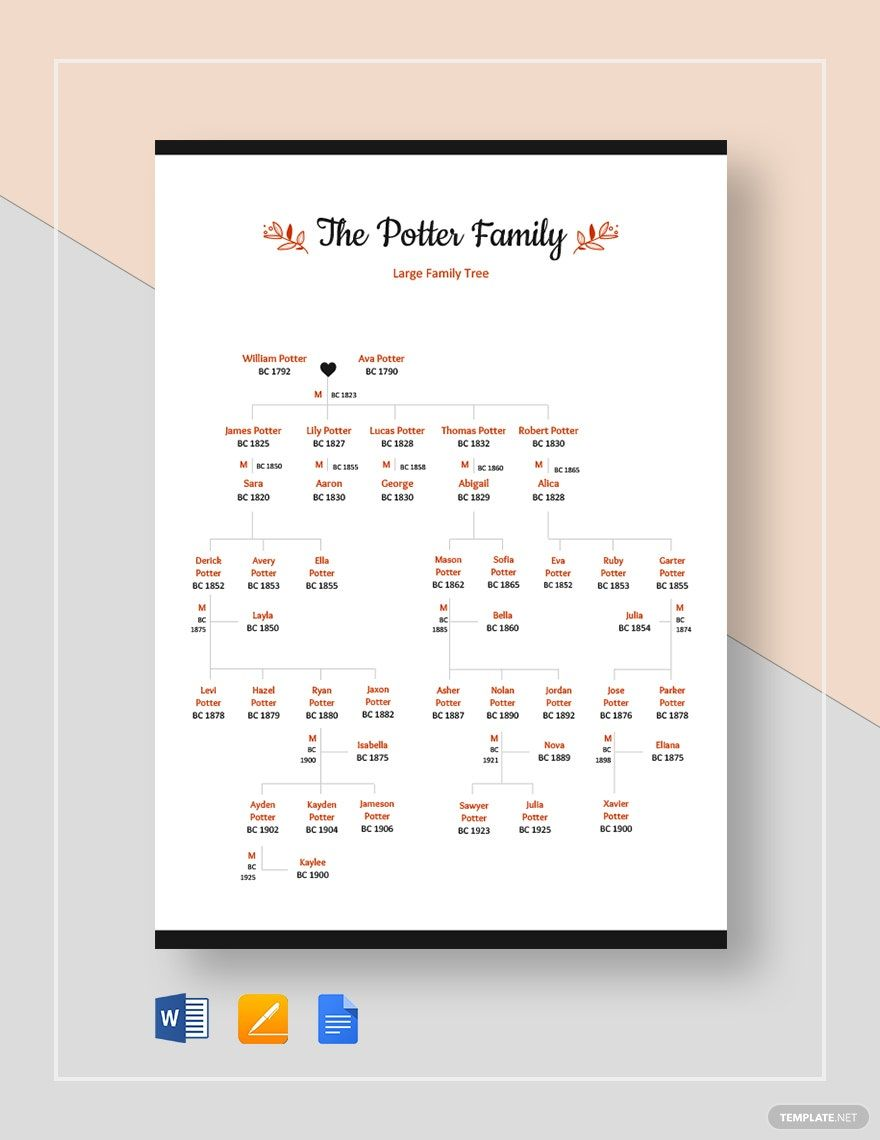 Large Family Tree Template Word Doc Apple Mac Pages Google Docs Free Family Tree Template Family Tree Template Word Family Tree Template Family tree template for mac