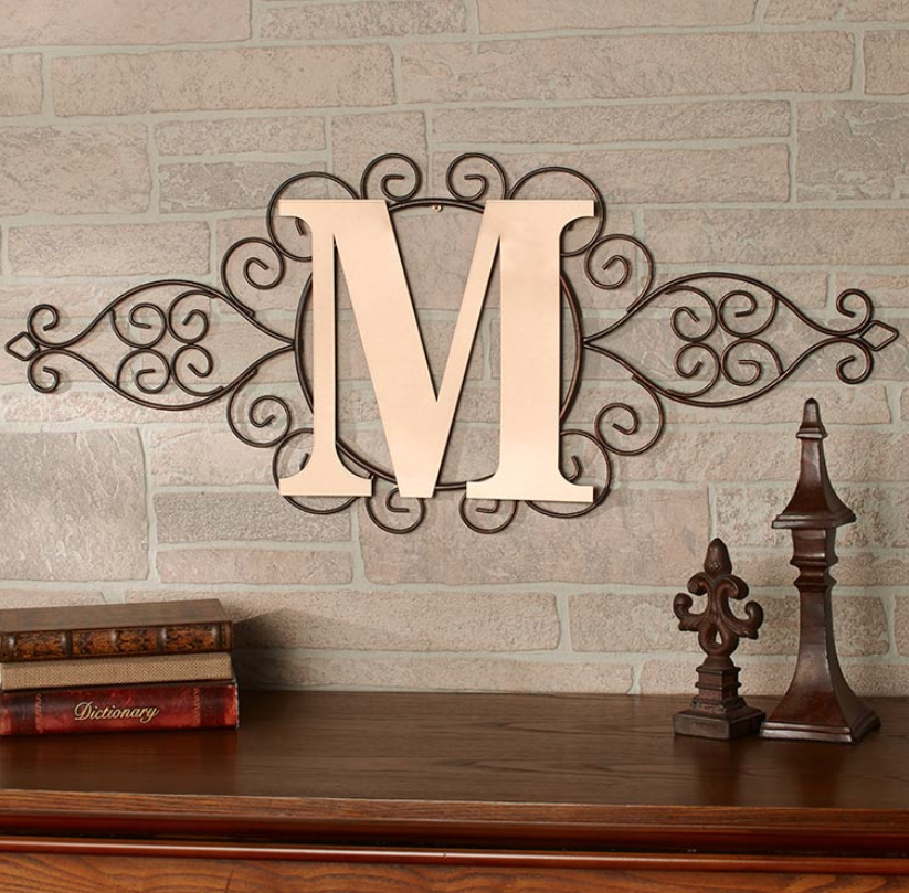 The Letter M Initial Indoor Outdoor Wall Hanging Metal Rustic
