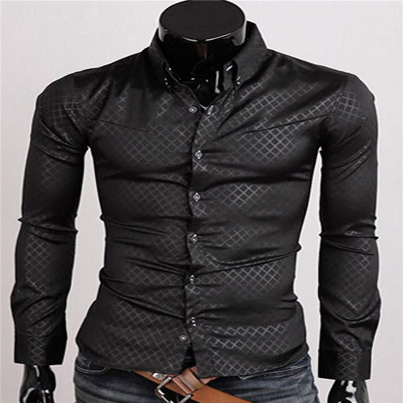 53e41a3977 Click to Buy    Mens Plaid Shirt British Style Long Sleeve Slim Fit ...