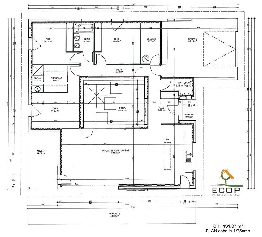Plan du patio d 39 une maison rt 2012 du constructeur ccmi for Plan maison constructeur