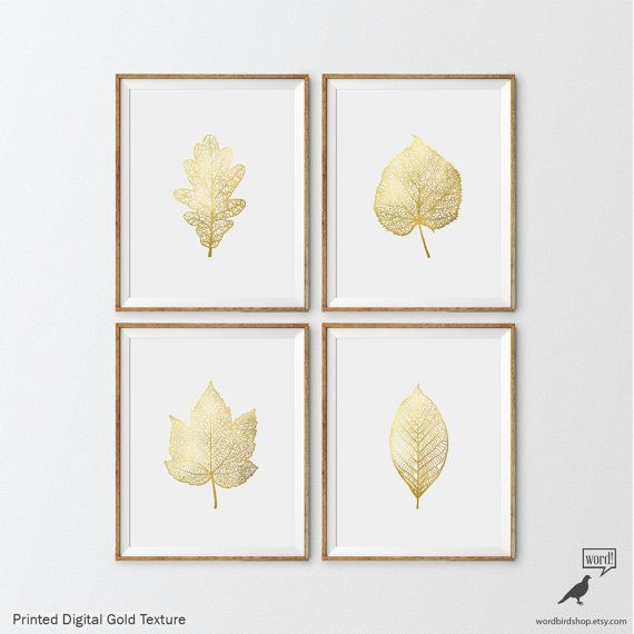 0ad20ea03938 Matte Gold Foliage Prints 4 Set