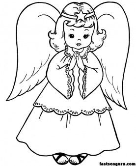 christmas angels coloring page print out for kids - Printable ...