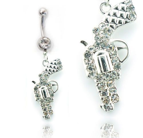 Revolver-Gun-Pistol-Belly-Ring-Navel-Ring-14g-Clear-or-Pink-Ships-Today