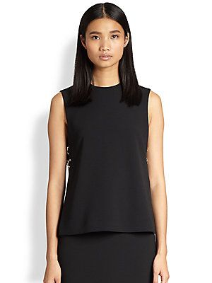 """Alexander Wang Laced-Side Top $450 This beautifully cut, minimalist top gets just a hint of dark cool at its sides with splits laced together by metallic cord.  Sleeveless Laced splits at sides Inserts at splits Concealed back zip About 23"""" from shoulder to hem Polyester/viscose/elastane Dry clean Made in USA of imported fabric"""