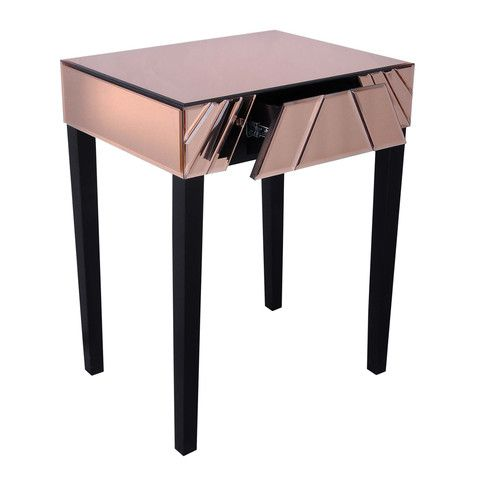 toulouse copper mirrored art deco bedside table art deco mirrored furniture