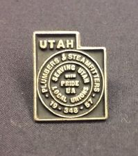 UA - Plumbers & Pipefitters Union Pin Local 19, 348, 57 Utah MARKED STERLING