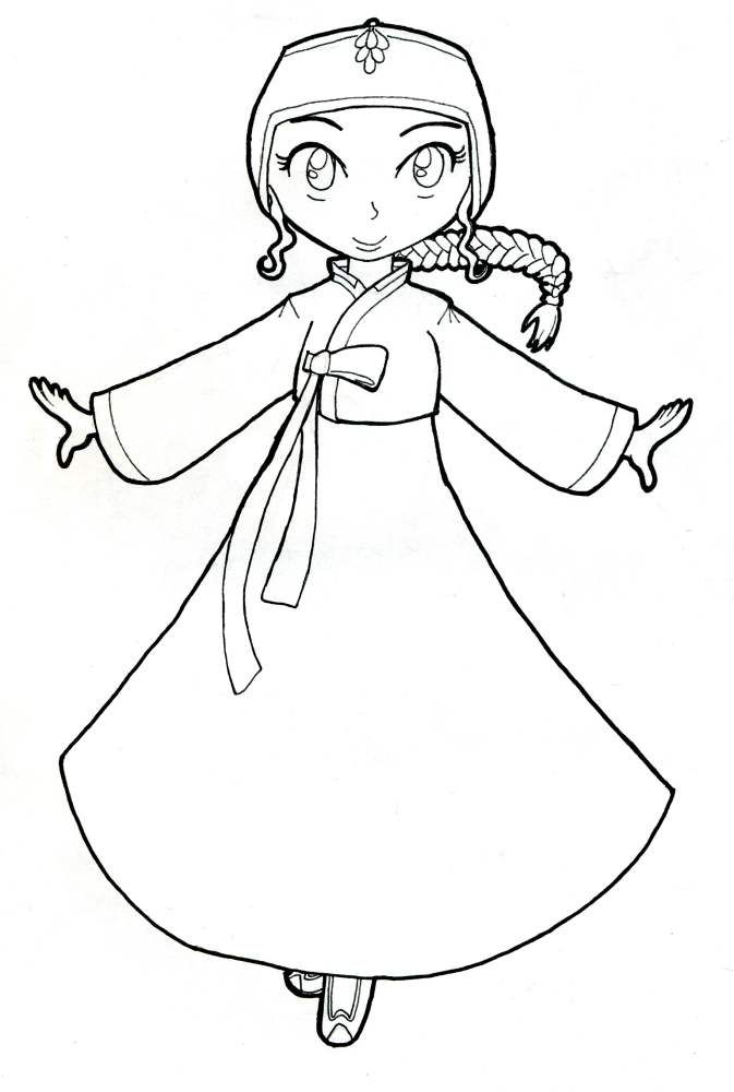 Korean Hanbok Coloring Page by