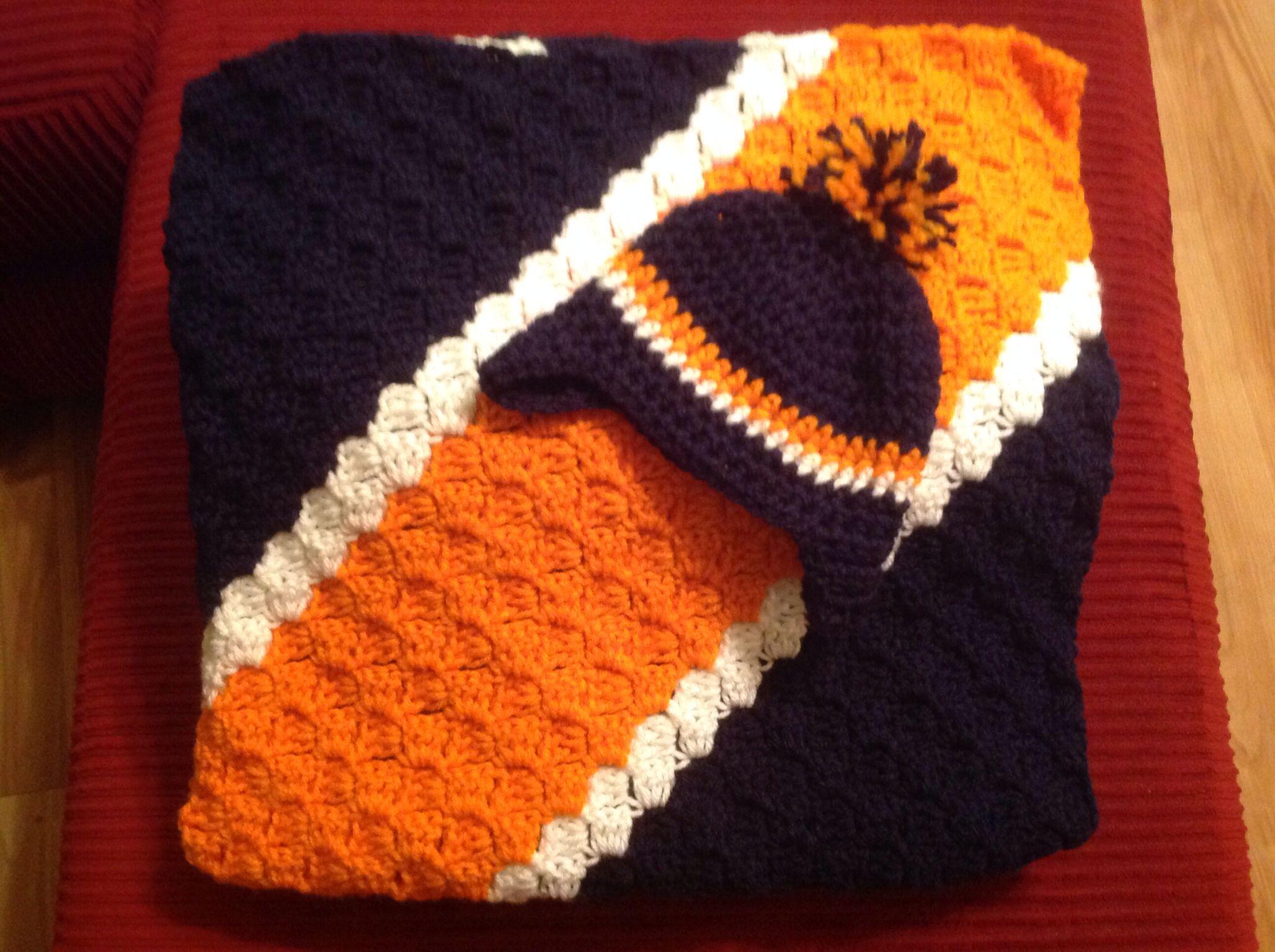 Free Crochet Pattern For Chicago Bears C : Crochet corner to corner Chicago Bears Blanket. She ...