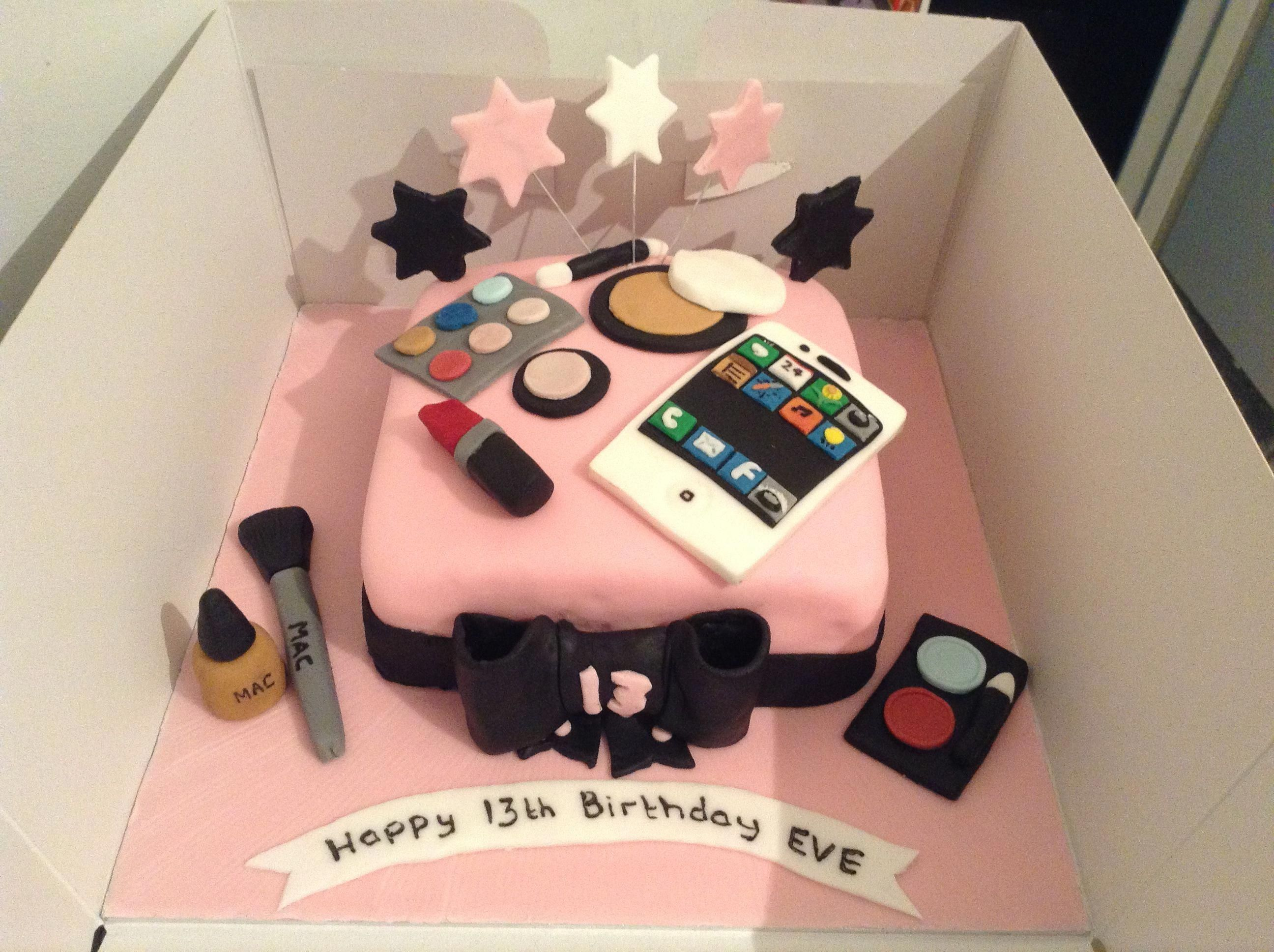 Incredible Teenage Girls Birthday Cake Iphone And Make Up Perfect For Personalised Birthday Cards Veneteletsinfo