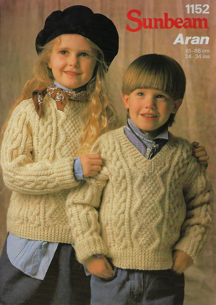Details about Family Cable Aran Sweater & Vest Naturally ...