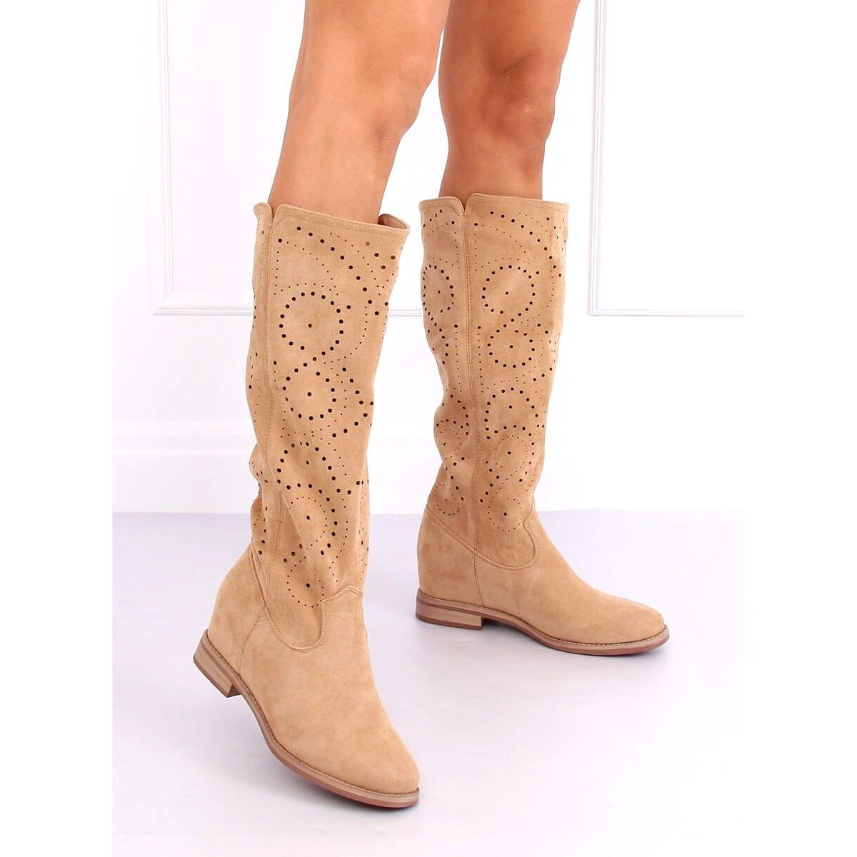 Kozaki Azurowe Na Koturnie Bezowe Nc1015 Beige Bezowy Boots Shoes Ankle Boot