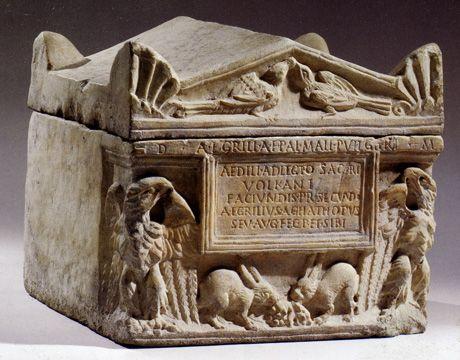 cinerarium, marble, Roman, 2nd Century A.D.,