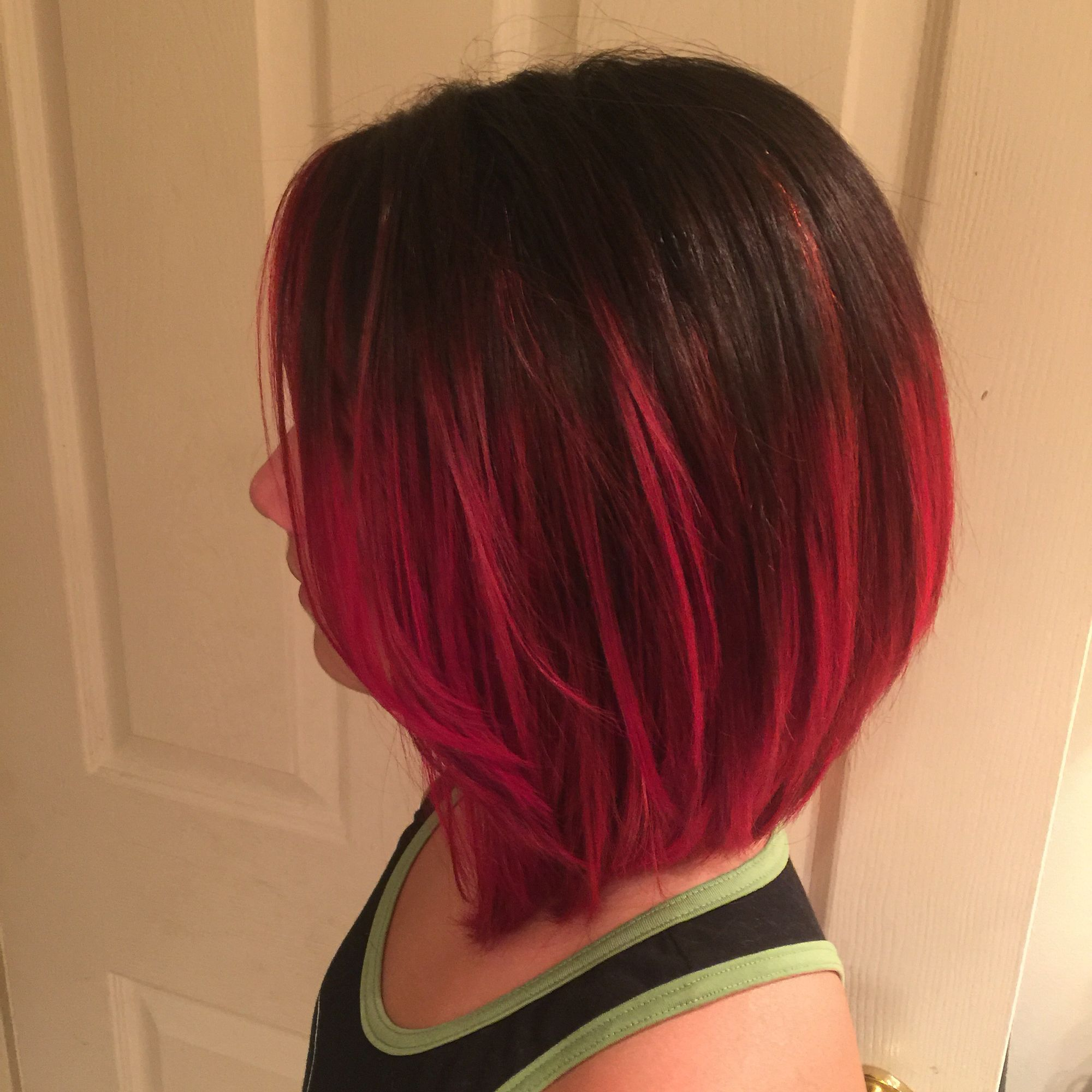 Bob Haircut With Red Ombr Hair Cuts Pinterest Hair