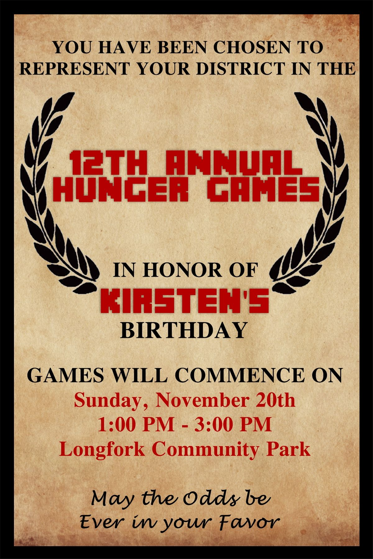 Hunger Games Birthday Invitation Contact me via email at