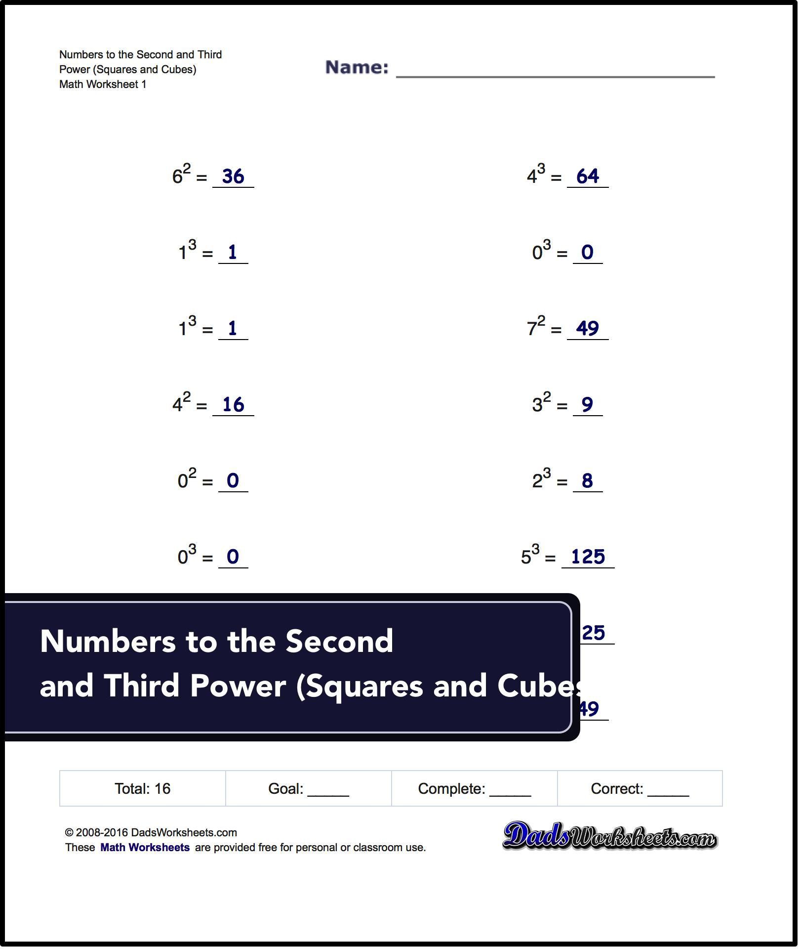 Worksheets Spelling Power Worksheets exponents worksheets for numbers to the second and third power squares