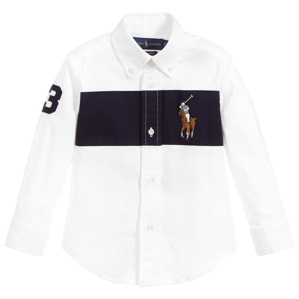 9549388f4ccc Boys white and navy blue shirt from Polo Ralph Lauren. It is made in ...