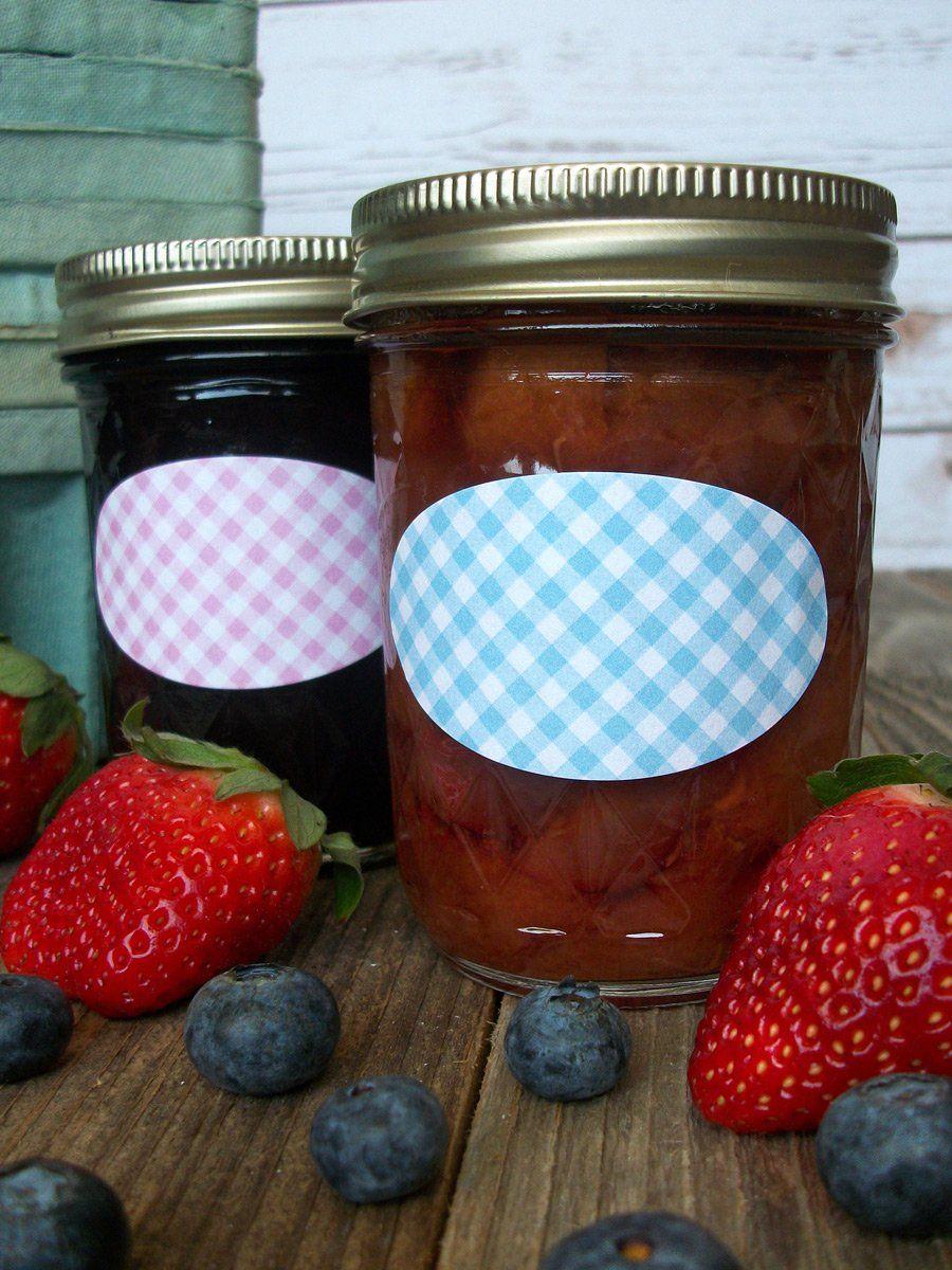 Checkered oval canning labels mason jar diy mason jar