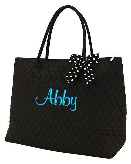 Personalized XLarge Tote Bag Black White accents | Things to Wear ... : quilted monogrammed tote bags - Adamdwight.com
