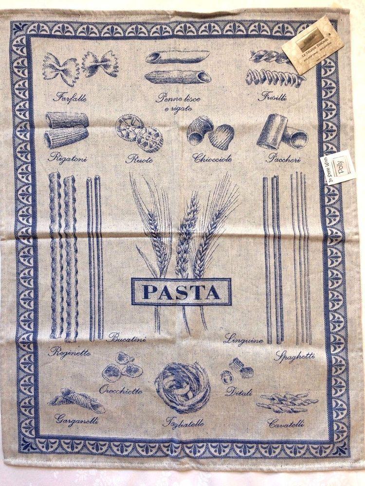 Le Telerie Toscane Italy Cotton Jacquard Kitchen Tea Towel Pasta