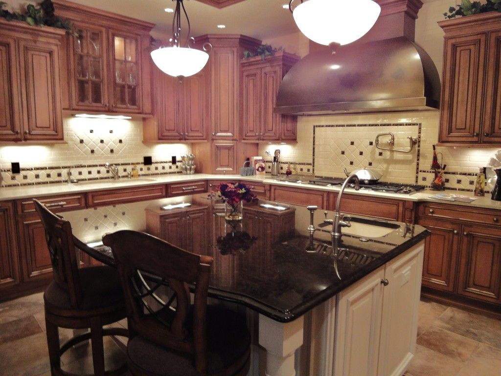 Cherrywood cabinets dark granite white island cherry for Cherry and white kitchen cabinets