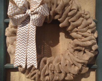 Burlap Wreath with White Chevron Ribbon by SimplyBlessedGift