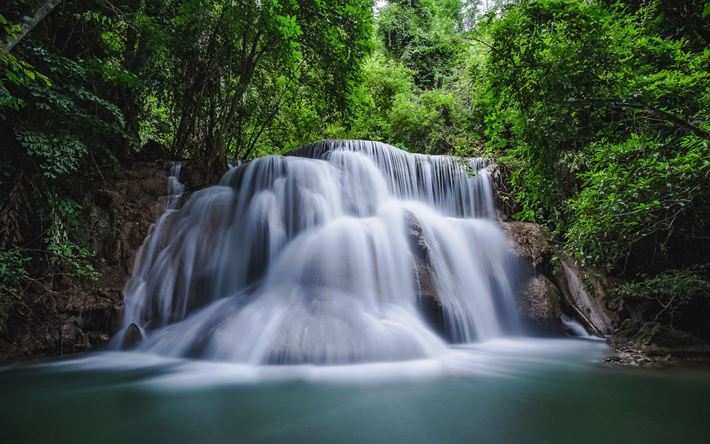Download Wallpapers Waterfall Forest Thailand Lake Rain Forest Besthqwallpapers Com Les Cascades Paysage Chute D Eau