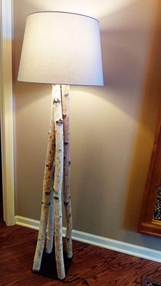 Une Magnifique Lampe Sur Pied Bois Bouleau
