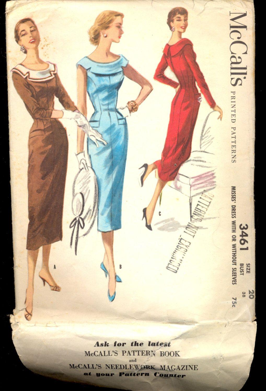 Modello abito donne di vintage 1950, 3461 cartamodello di McCall, formato 20 di AtomicRegeneration su Etsy https://www.etsy.com/it/listing/226573607/modello-abito-donne-di-vintage-1950-3461