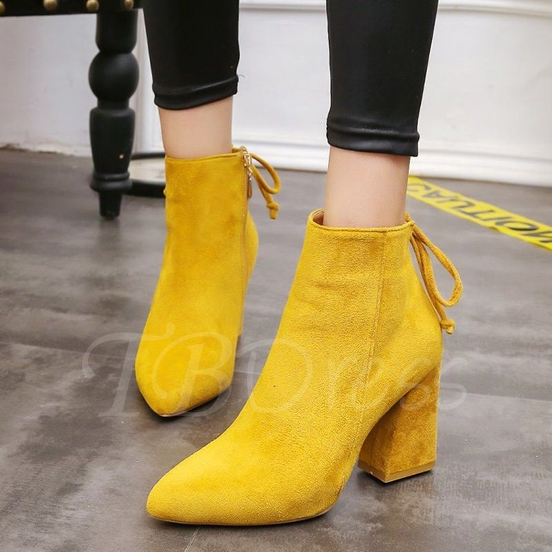 9849c8cab44 Yellow Ankle Boots Lace-Up Zipper Chunky Heel Shoes - m.tbdress.com ...